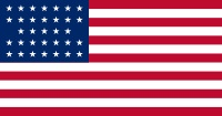 United States of America Flag with 33 stars that was inn use 4 July 1859–3 July 1861. Although admission of Kansas to the Union occurred in January, 1861, the 34th star was not added until July 4, 1861.