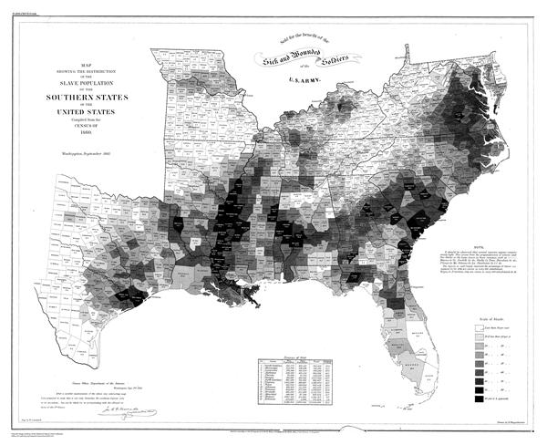 Map Showing the Distribution of the Slave Population of the Southern States of the United States