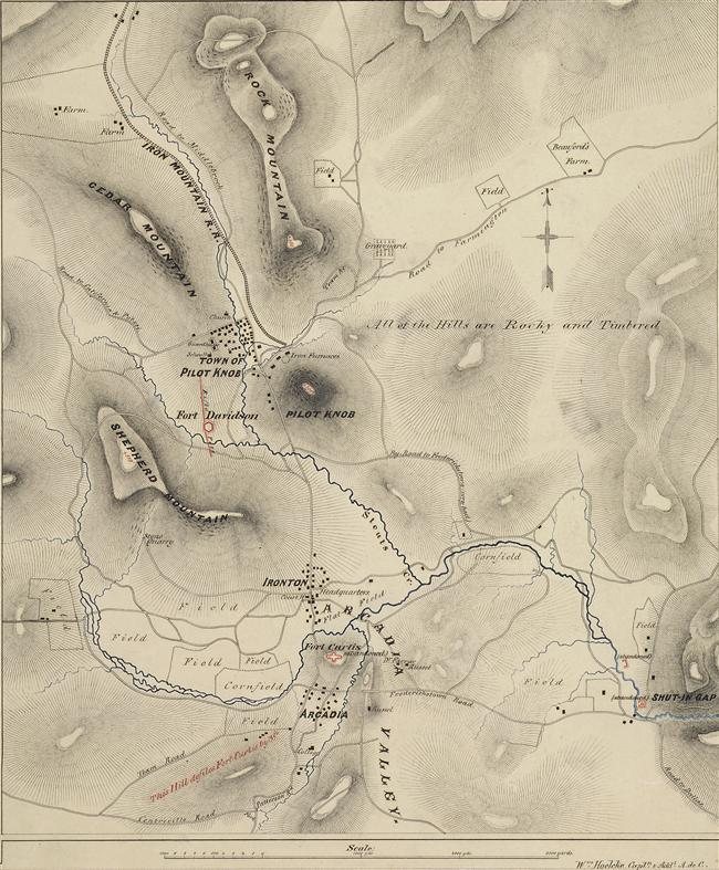 Map of Pilot Knob, Missouri in 1865