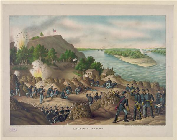 Siege of Vicksburg--13, 15, & 17 Corps, Commanded by Gen. U.S. Grant, assisted by the Navy under Admiral Porter--Surrender, July 4, 1863, created by Kurz & Allison