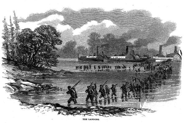 Federal troops disembarking from river boats
