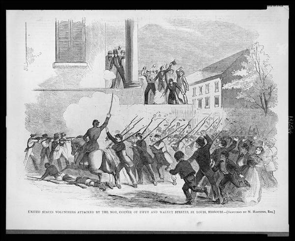 Camp Jackson Affair - May 10, 1861, US Volunteers attacked by civilian mob in St. Louis, Missouri
