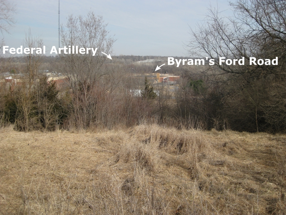 Annotated view from top of Bloody Hill looking west toward Byram's Ford