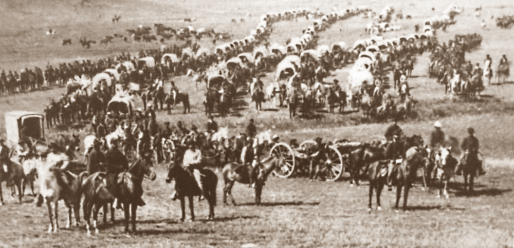 Wagon train preparing to move out