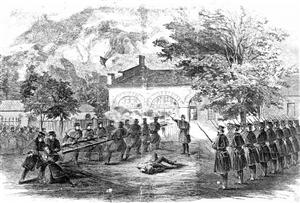 Harper's Weekly Illustration of U.S. Marines attacking the firehouse which John Brown used as a fort during his raid on Harper's Ferry