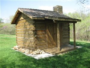 Front view of the replica of the fortified cabin, Fort Titus