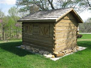 Rear view of the replica of the fortified cabin, Fort Titus