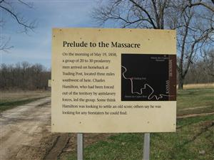 Marais des Cygnes Massacre State Historic Site Interpretive Sign #5