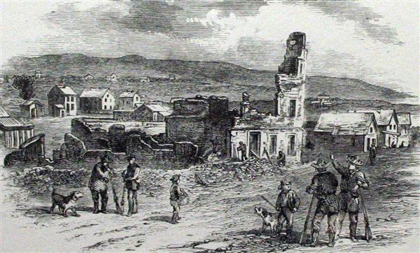 Drawing of the Free State Hotel after its destruction during the Sack of Lawrence