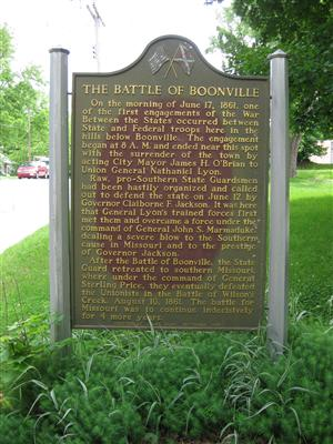 The Battle of Boonville Historical Marker on south side of East Morgan Street in Boonville, Missouri