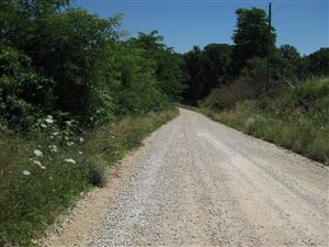 From Missouri State Guard troops perspective looking east on Rocheport Road from the 'Marmaduke Defensive Line' tour stop