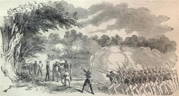 A sketch of Federal troops attacking Missouri State Guard in the Battle of Boonville on June 17, 1861 - Harper's Weekly