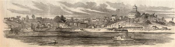 A sketch of the river front of Jefferson City, Missouri in June of 1861 - Harpers Weekly