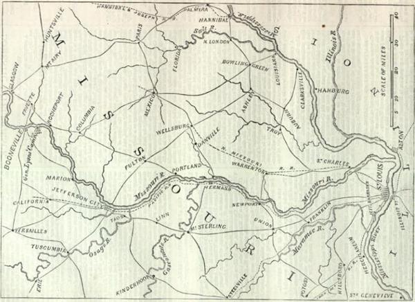 A map if the interior of the State of Missouri in 1861 - Harpers Weekly