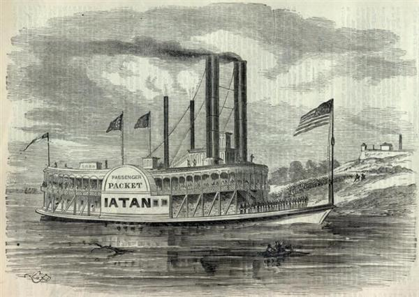 A sketch of the riverboat Iatan unloading Federal troops at Jefferson City, Missouri in June of 1861 - Harpers Weekly