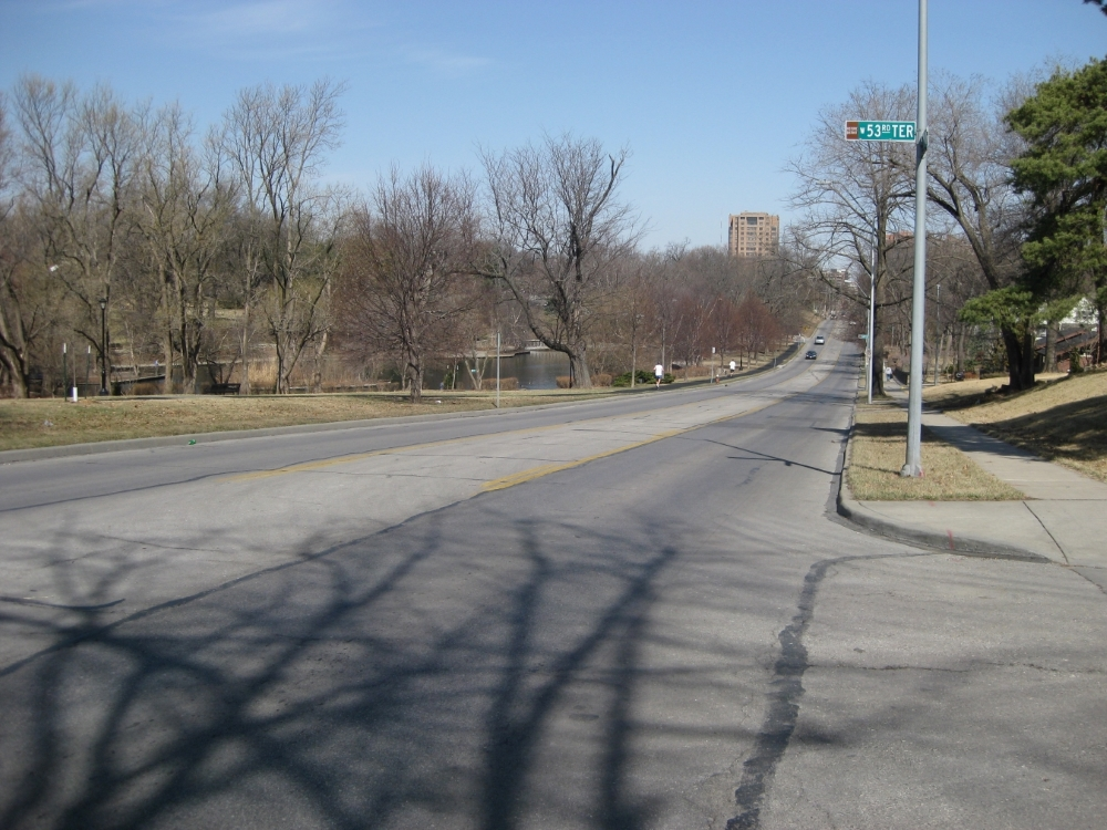 View looking north up Wornall Road toward position of McLain's Battery