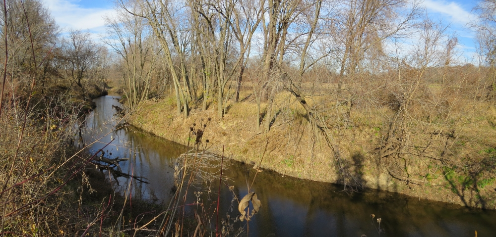 Steep banks of the Blackwater River near the Quantrill rendezvous
