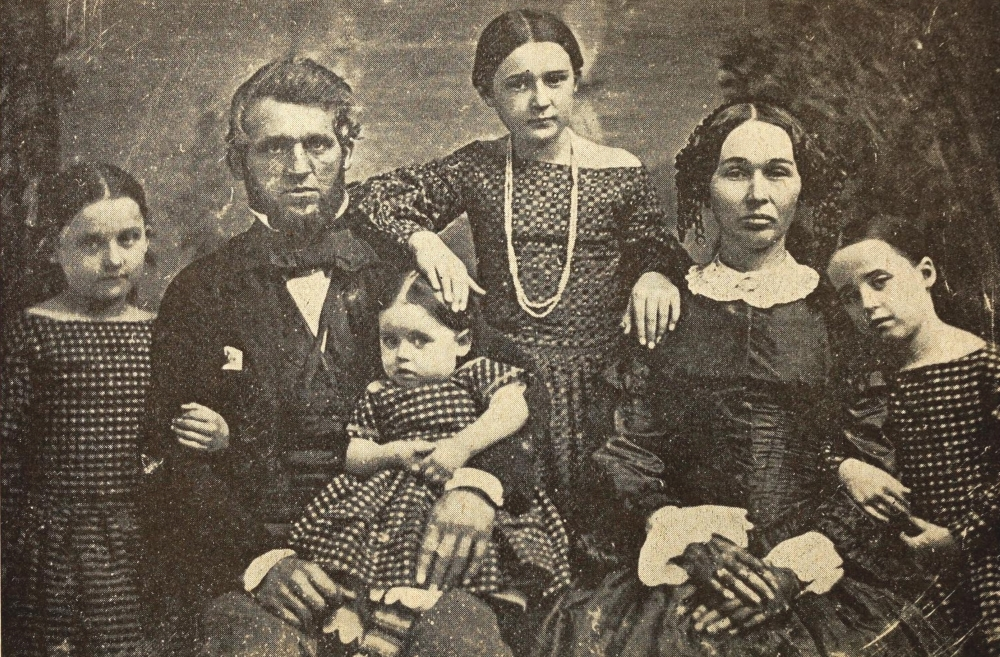 Shalor and Mary Eldridge in a family photograph taken in 1854