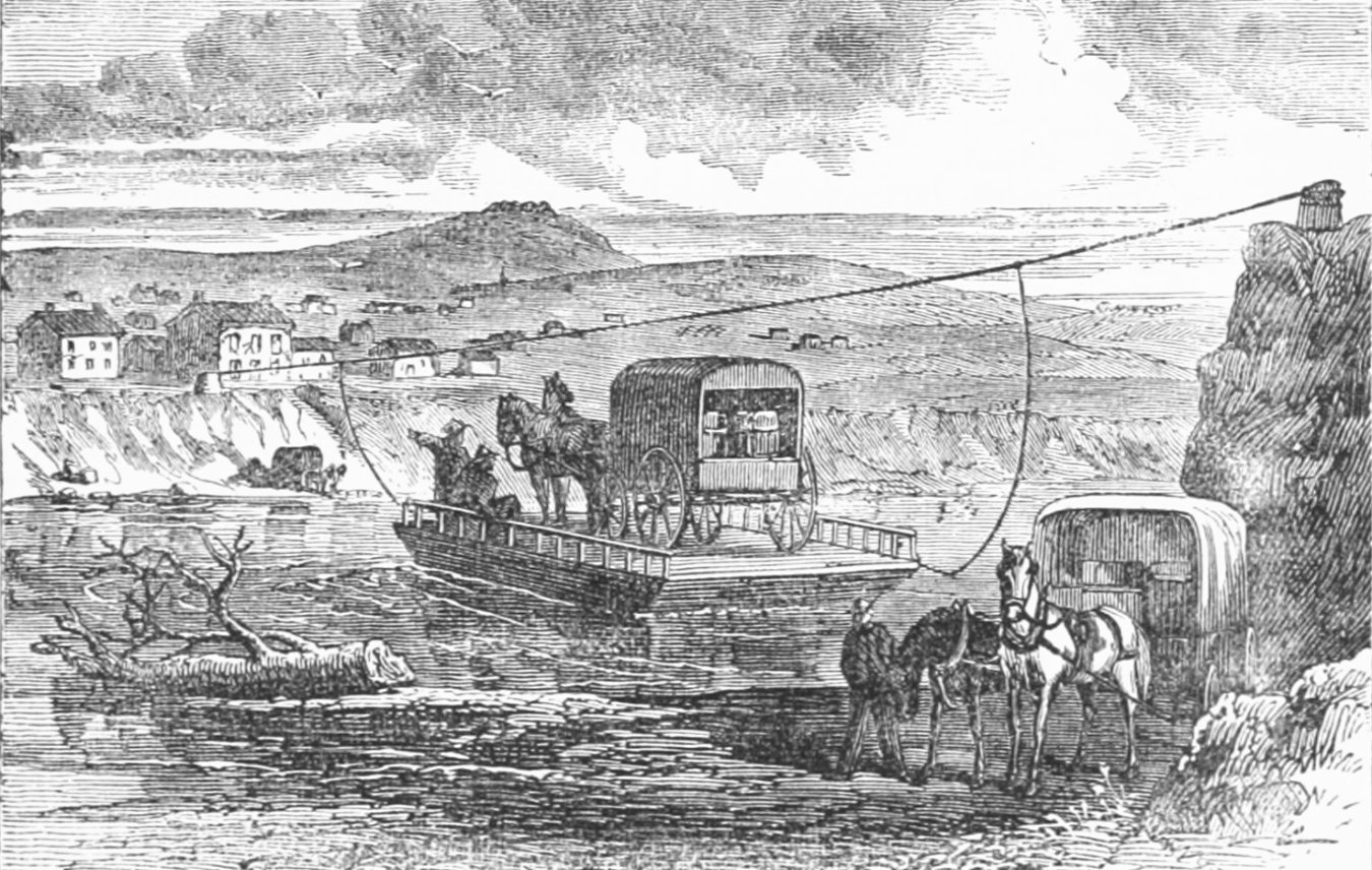 Sketch of ferry over the Kansas River