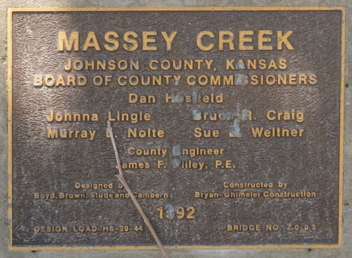 Massey Creek bridge plaque