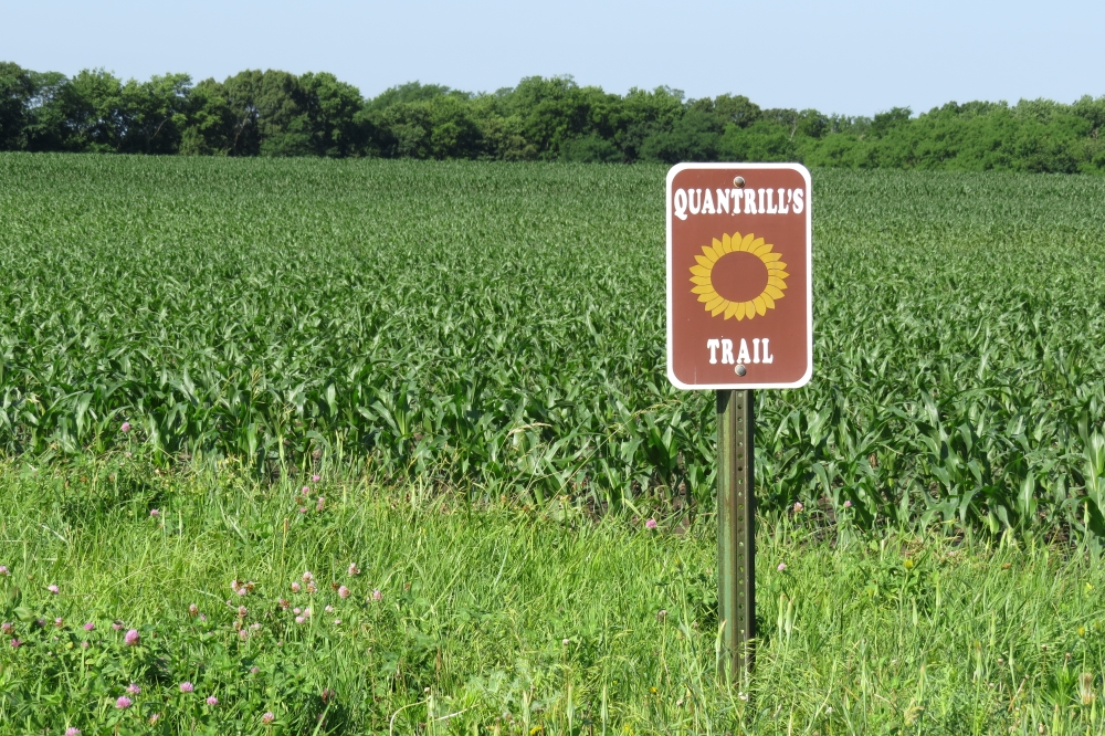 Quantrill's Trail marker at the Fletcher Farm tour stop
