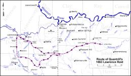 Quantrill Lawrence Raid Route Map