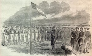 Missouri Governor Claiborne Fox Jackson Lecturing Captured Union Soldiers after Battle of Lexington from Harpers Weekly