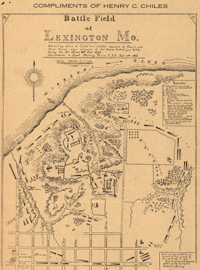 Map of Lexington Battlefield Earthworks