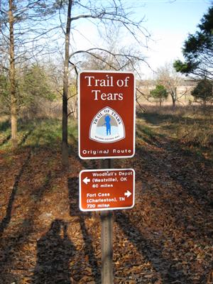 Trail of Tears Original Route Sign