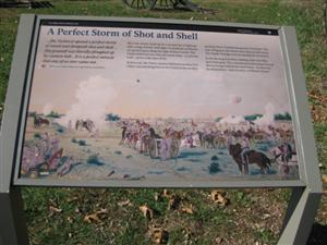 A Perfect Strom of Shot and Shell Interpretive Sign