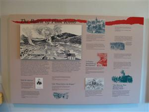 Visitor Center Interpretive Sign With Overview Of The Battle of Pilot Knob