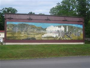 Civil War Mural on the side of a building in Ironton, Missouri