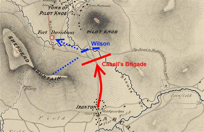 Annotated map of Ironton Gap fighting
