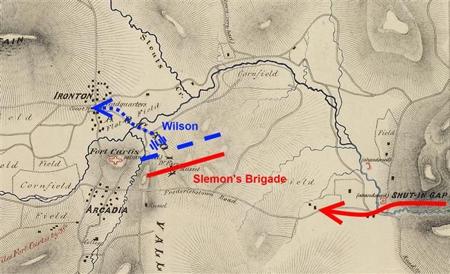 Annotated map of Russellville skirmishing