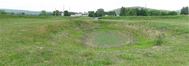 Panoramic view of the crater left after the Federals blew up the powder magazine