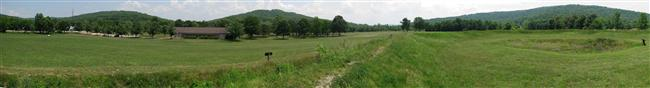 Panorama of Ironton Gap looking south from Fort Davidson