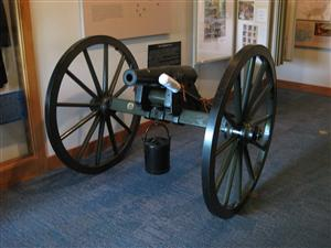 Front View of the Woodruff Gun inside the Visitor Center