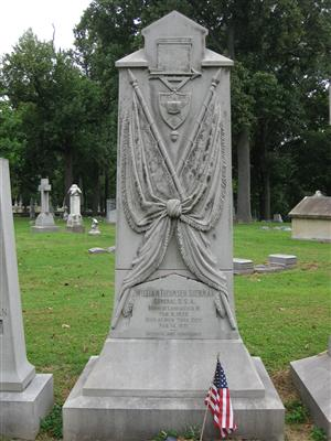 Close up of William T. Sherman Marker at Calvary Cemetery