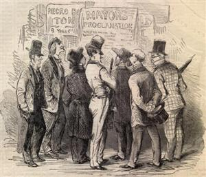 Sketch of a St. Louis street corner during the excitement following Camp Jackson appeared in Harpers Weekly on June 1, 1861