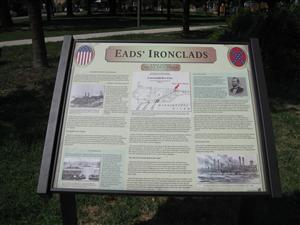 Close up of Eads' Ironclads Interpretive Sign