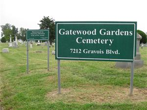Sign at the entrance of Gatewood Gardens Cemetery