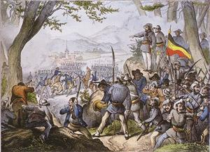 1848 Hecker Uprising showing the death of General Friedrich von Gagern at the Battle of Kandern
