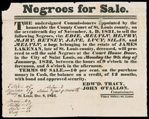 Newspaper advertisement for the January 1832 sale of slaves at the courthouse door in St. Louis, Missouri