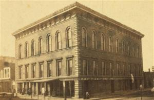The St. Louis Mercantile Library building at 510 Locust Street circa 1870