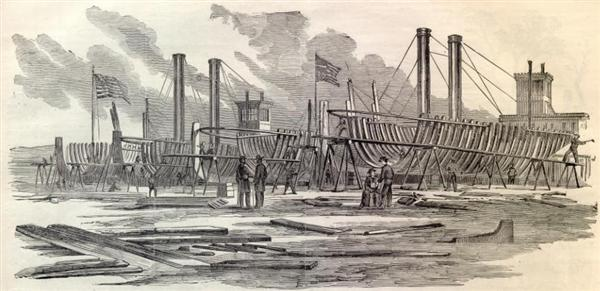 Sketch of United States Gun Boats being built in Carondelet on the Mississippi River appeared in Harper's Weekly on October 5, 1861