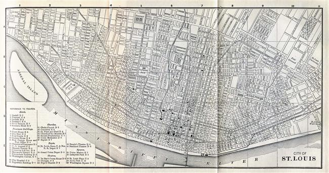 Map of Saint Louis, Missouri in 1885