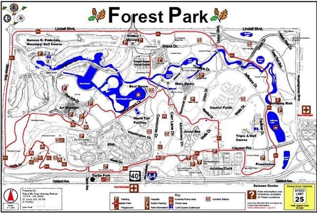Map of  Forest Park in St. Louis, Missouri